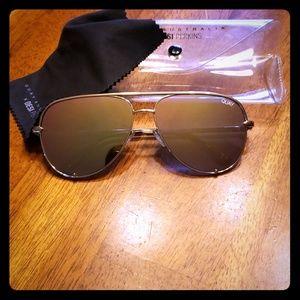 High Key Gold Mirror Sunglasses  QUAY AUSTRALIA